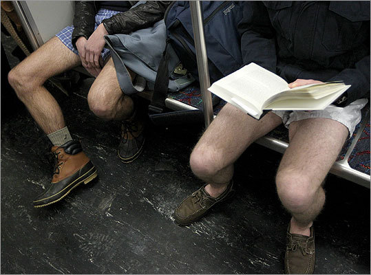 The fourth annual No Pants Subway Ride was held in Boston on Sunday. The event, organized by the Societies of Spontaneity, is a global event started by ImprovEverywhere.com in New York in 2002. - Send us your photos from the No Pants Subway Ride