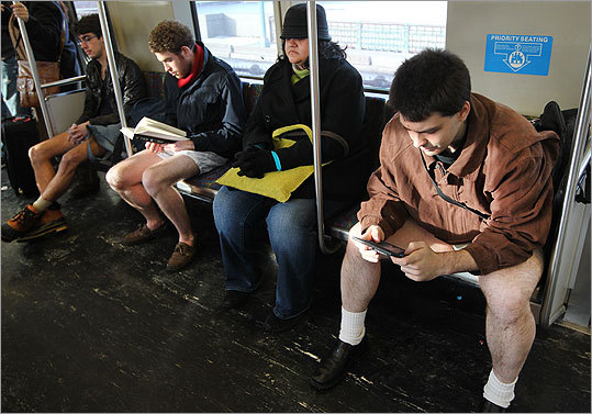 A Red Line rider found herself surrounded by pantless men.