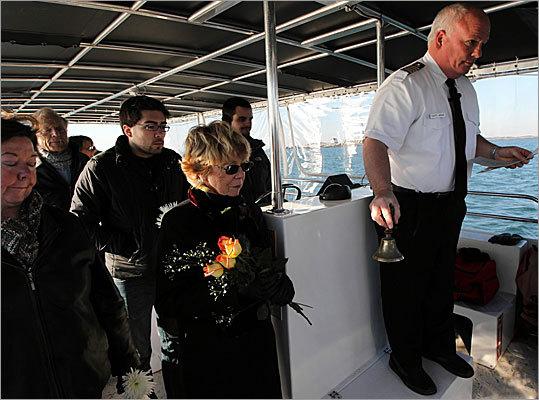 Captain White led the prayer service for the mourning family, ringing a bell eight times to mark the passing. His company, New England Burials at Sea, based in Marshfield Hills, is one of many companies across America that cater to the growing demand for not just cremations, but for at-sea burials. The Environmental Protection Agency received 70 filings for New England burials at sea last year, up from just five in 2005. White holds as many as 10 services per week up and down the East Coast, from Maine to Florida.