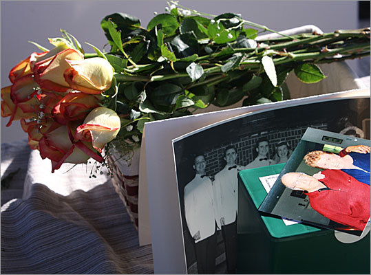 Nancy, 78, who died after a battle with cancer, was from East Boston. She was a beach-lover who wanted her ashes to be scattered at sea along with her husband's &#8211 who had only passed a few months earlier. Here, the couple is pictured in some family photos placed at the service. 'She wanted to be with him,' said her daughter Wendi Mastrangelo, of Sudbury.