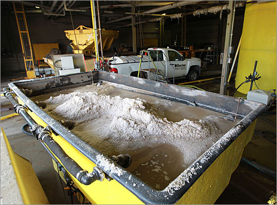 The brine solution is created inside a Boston Public Works garage. To create it, a mixture of salt and water is put into a large tank where it is mixed together to a 23 percent salinity. Then, it is pumped into two large 5,000 gallon holding tanks.