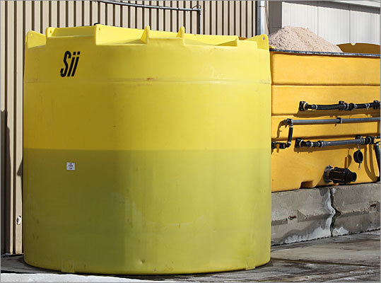 Here is a closer look at one of the mixing tanks. This one is located at the Scituate Highway Department. It works on an automated AccuBrine system that creates the perfect solution for the roads and sidewalks.