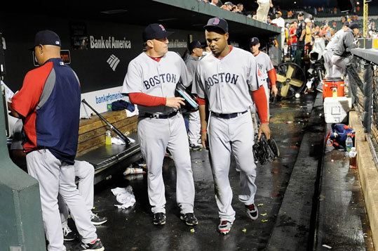 Sept. 26, 2011: Red Sox complete collapse with loss to Orioles In one of the most shocking losses in team history, the Red Sox blew a 3-2 ninth inning lead in Baltimore, and faster than you can say Jonathan Papelbon and Carl Crawford (pictured, right), the season was over following a 4-3 defeat. The devastating loss was quickly coupled with one of the most dramatic comebacks in Tampa Bay Rays history as the sons of Joe Maddon roared back from a 7-0 deficit to beat the Yankees on Evan Longoria's 12th inning walkoff.