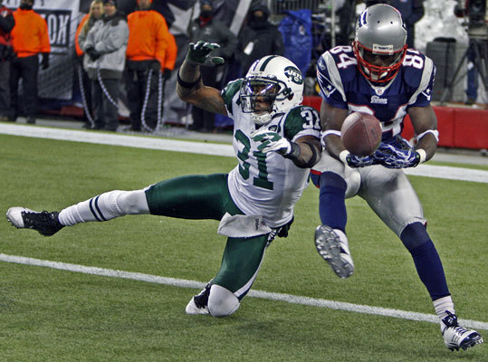 January 16, 2011: Jets upset Patriots in AFC playoff game The Jets not only talked the talk, but they walked the walk Sunday in Foxborough where they sent the Patriots packing in their AFC divisional playoff battle, beating Tom Brady and Co., 28-21. Here, the Jets Antonio Cromartie breaks up a fourth quarter pass intended for Deion Branch. The Jets defense frustrated Brady and the Patriots offense all afternoon while Jets QB Mark Sanchez stepped up and had a career afternoon in a place he struggled in previous games.