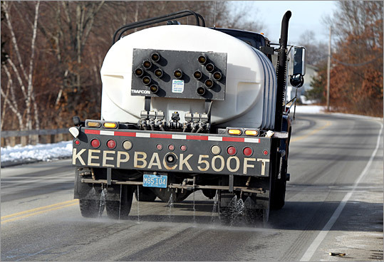 While the hunt is on for more environmentally friendly treatments for icy roads, salt still reigns supreme because of its low cost and effectiveness. Now, however, a small but growing number of Massachusetts communities are rediscovering an age-old solution: brine. Here is a look at how the brine solution is made, and how if makes it onto the roads in some communities, like Scituate, pictured here.