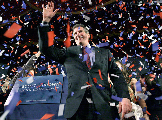 One year ago, Republican Scott Brown shocked the political world by defeating heavily favored Martha Coakley for the US Senate seat once held by Edward M. Kennedy. The victory catapulted Brown into the national spotlight, transforming him from a little-known state senator to a household name. During his first year in office, Brown has taken some pivotal votes and stances on major issues, and emerged as a one of the most high-profile politicians in the nation. Read on for a look at Brown's first year.