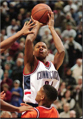 UConn: 1993-1996 Allen's three-point shooting prowess, as well as his trademark smooth mechanics, were evident from an early age. He set a UConn single-season record with 115 three-pointers in 1995-96 and holds the school record for 3-point percentage, hitting his threes at a 44.8-percent clip. Fans of the Huskies will remember the 1995-96 team (with Allen, Kevin Ollie, Donnie Marshall, Doron Sheffer) that made a run to the Elite Eight of the NCAA tournament, only to be upended by eventual champion UCLA.