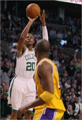 Celtics guard Ray Allen surpassed Reggie Miller's NBA record for career 3-pointers Thursday night against the Lakers. Miller's mark was 2,560. Allen's legacy was already fairly secure, but the record assures he'll go down as one of the greatest shooters -- long range or otherwise -- in NBA history. Celtics fans know Allen's clutch heroics the last four years, but the former Connecticut product has had an illustrious career spanning 14 seasons. We take a look at his career to this point.