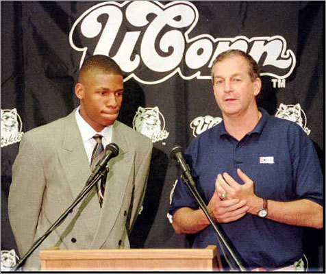 1996 NBA Draft Allen, seen here with UConn coach Jim Calhoun, left Connecticut after his junior season and was selected by the Minnesota Timberwolves with the No. 5 pick, then immediately traded to the Milwaukee Bucks for the rights to Stephon Marbury and a future 1st-round pick. Celtics fans will be interested to note that Antoine Walker was selected by the Celtics with the pick after Allen.