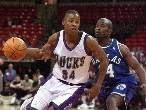 Bucks: 1996-2002 Allen played in Milwaukee for six seasons, making the NBA All-Star team in each of his last three seasons. He was a model of consistency with the Bucks, at one point playing in 400 straight games. He was consistently among the league-leaders in three-pointers made and free-throw percentage.