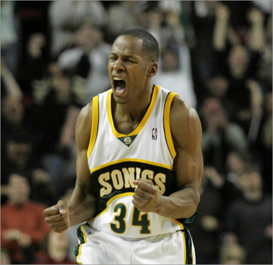 Sonics: 2003-2007 The NBA landscape changed drastically on Feb. 20, 2003, when the Seattle Supersonics acquired Allen from Milwaukee along with Kevin Ollie, Ronald Murray and a conditional 2003 first-round draft pick. In exchange, the Sonics sent Gary Payton and Desmond Mason to the Bucks. Allen played a little more than four seasons in Seattle and became the face of the franchise, a task that was anything but easy considering he replaced Payton, who was basketball in Seattle for so many years.