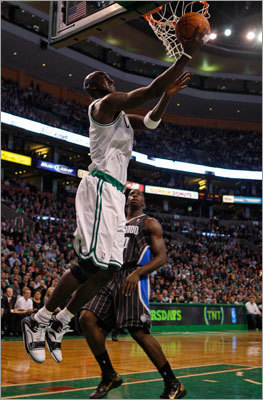 Kevin Garnett is finally Kevin Garnett You can tell by how he moves. The hard, fluid cuts. By his decision to once again pick up guards full court on defense, even though he doesn't have to. Garnett wasn't himself during the 2010 playoffs, and it showed. He was badly outplayed by Pau Gasol, an extension of a season in which he was outplayed by Rashard Lewis, Andray Blatche, and others. Despite his numbers being a little down recently, Garnett's averaging as many rebounds this year as he did in his first season with the Celtics. That should tell you something.