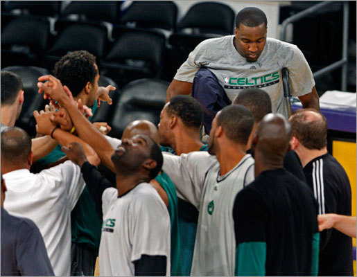 Kendrick Perkins finished his rehab ... ... and still, the Celtics and Lakers have yet to play a game since Game 7. When you think about it that way it seems like a long time, doesn't it? Perkins's recovery from right knee surgery was completed Tuesday night, when the Celtics center returned to the lineup against the Cleveland Cavaliers. Perkins injured the knee in Game 6 of the Finals and missed Game 7. His absence was one of the reasons the Celtics faltered down the stretch in the final game.