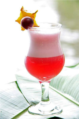 A camu camu sour made from the fruit of a plant found only in the Amazon rain forest.