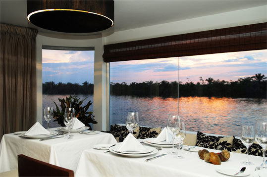 The dining room of Aqua Expeditions.