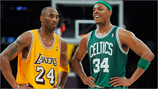 Paul Pierce (right) scored 32 points to lead the Celtics, falling short of Kobe Bryant's 41 but adding 5 rebounds and 3 assists.