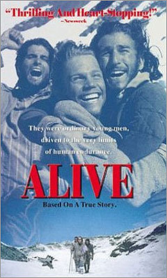 'Alive' (1993) 'Alive' is based on the true story of a group of rugby players who survive a plane crash in the Andes mountains, and are forced to take extreme measures in order to survive.
