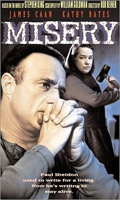 'Misery' (1990) Also making our list is the movie version of Stephen King's novel about a writer who gets into real trouble after crashing his car during a blizzard. In 'Misery,' Paul Sheldon (James Caan) is 'saved' by Annie Wilkes (Kathy Bates) who turns out to be a crazed fan of his work. Bed-ridden, Sheldon becomes Wilkes's prisoner inside her isolated, snowbound home.