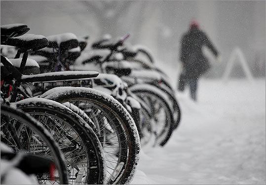 Students rode their bikes to MIT despite Tuesday's snow.