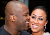 Shaquille O'Neal of the Boston Celtics and Nikki 'Hoopz' Alexander