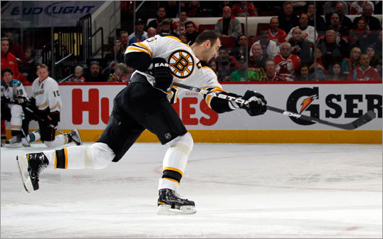 Zdeno Chara: Hardest shot Bruins defenseman Zdeno Chara set the NHL record for the hardest shot ever recorded during the 2011 All-Star Game skills contest, blasting a slapper at 105.9 miles per hour. Chara was already the record holder and is now a four-time reigning champion in the event.