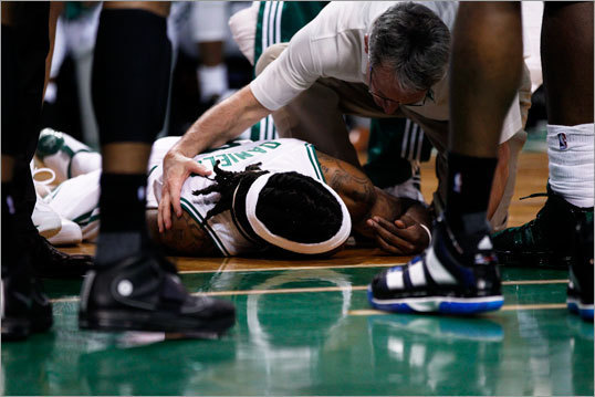 Marquis Daniels In a February game at TD Garden, the former Celtic collided with the Orlando Magic's Gilbert Arena, and the impact sent Daniels to the floor, where he remained motionless as athletic trainer Ed Lacerte tended to him. Daniels, who was traded to the Kings later in February, suffered a bruised spinal cord and hasn't played since.