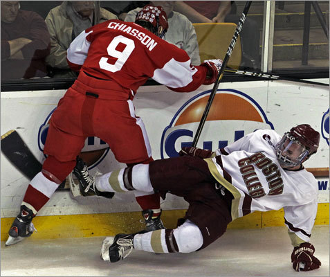 Boston College 3, Boston University 2 BC's Pat Mullane (right) ended up on the ice after a first period hit from BU's Alex Chiasson (left).