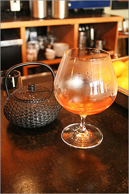Elixir d'Auge $10, Bergamot In the mix: 1 ounce Daron Calvados brandy 1 ounce Bénédictine liqueur 1 ounce Ras el Hanout-Citrus syrup* 4-5 ounces hot water Build in cast iron teapot. Serve warm. *A syrup made from boiling down Ras El Hanout spice blend, sugar, water, and lemon juice and peel. More information on the next slide . . .