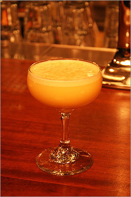 Carver Flip $9, Stoddard's In the mix: 1 egg yolk 1½ ounces Appleton rum ½ ounce orange Curaçao ½ ounce simple syrup Shake it with ice, strain into a glass, and dust with peanut butter powder (made from organic peanut butter and tapioca maltodextrin). More information on the next slide . . .
