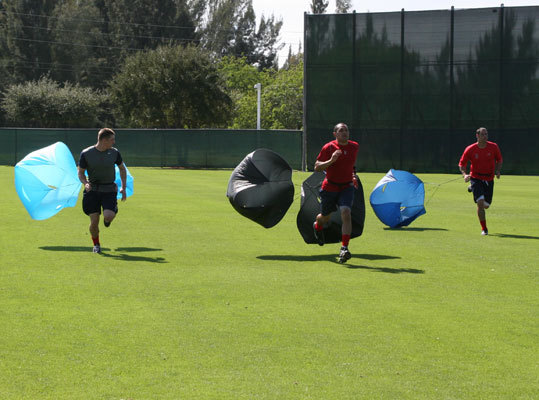 Red Sox players took part in running drills during Tuesday's informal workout.