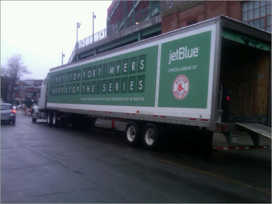 The 18-wheeler that will carry equipment from Boston to Fort Myers, Fla., sat outside Fenway Park Tuesday morning.