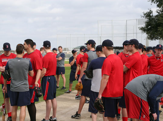 The large gathering of players that hit the practice fields on Tuesday included outfielders Ryan Kalish and Daniel Nava, and catcher Jarrod Saltalamacchia.