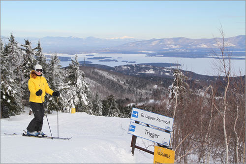 Gunstock's Trigger - with views of Lake Winnipesaukee and the White Mountains in the distance.
