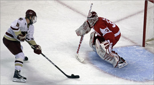 Boston College 3, Boston University 2 BC had a chance to win in the closing moments of regulation, but BU goalie Kieran Millan (right) stopped Philip Samuelsson's breakaway attempt.