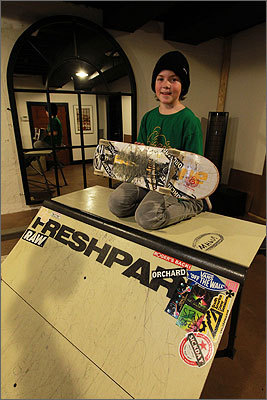 The miniature skate park Underwood's parents built him includes a quarter-pipe ramp.