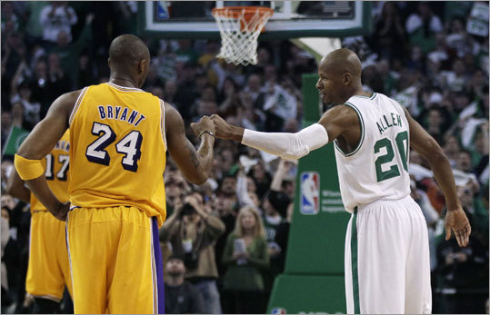 Even the leader of the Celtics' most intense rival gave credit where it was due. Kobe Bryant acknowledged the mark with a fist bump.