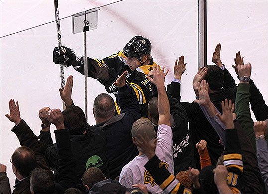Ryder and Bruins fans celebrated his third period goal.
