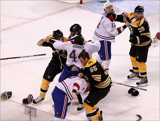 Another view of the fight between the two teams during the third period.