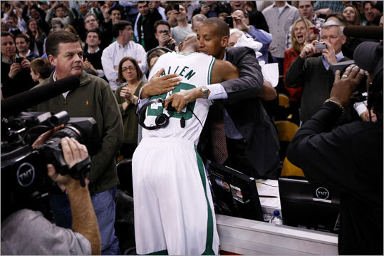 Ray Allen: Most 3-pointers in NBA The Celtics guard broke Reggie Miller's record on Feb. 10, 2011 vs. the Lakers at TD Garden, and Miller was there to witness it because he was part of TNT's broadcast team. Allen and Miller embraced after Miller's record of 2560, which stood for 13 years, was passed. 'I'll remember this moment for the rest of my life,' Allen said. 'It was all about the fans in Boston. The stage was set and everybody was ready. When I ran out on the floor and saw all of the signs ... I really didn't understand until that moment how big it was.'