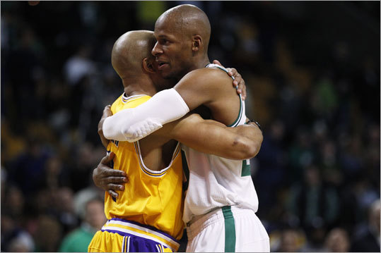 When the game was over, Lakers guard Derek Fisher also congratulated Allen.