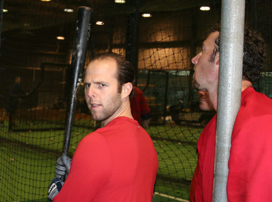 Pedroia had a lengthy session in the batting cages and played some indoor catch before his highly entertaining media session.