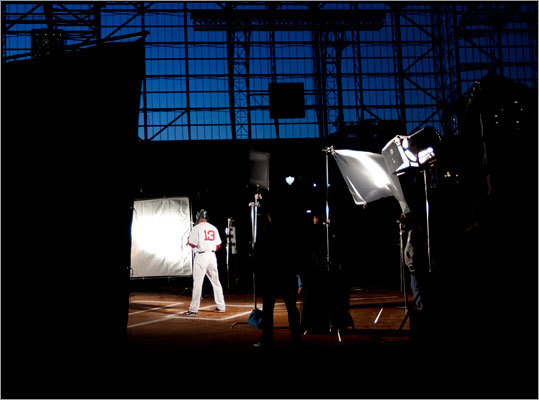 Carl Crawford shows off his No. 13 jersey in a photo shoot for ESPN at Minute Maid Park in Houston.