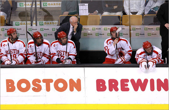 Harvard 5, Boston University 4 The look on the faces of coach Jack Parker and the BU bench said it all as the clock wound down on the consolation game of the Beanpot Tournament at TD Garden.
