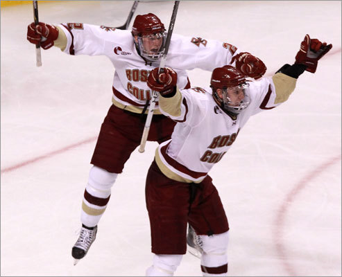 Boston College won the 59th Beanpot hockey tournament when Jimmy Hayes (right) scored in overtime to defeat Northeastern 7-6 at TD Garden. It was Boston College's third Beanpot championship in the last four years.