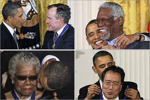 President Obama recognized a former president, Celtics' legend Bill Russell and a civil rights hero among the 15 new recipients of the Medal of Freedom. Here are a collection of some of the recipients. Read the story.
