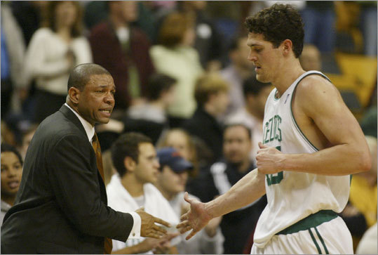 Righting the ship Working with the likes of Raef LaFrentz, Al Jefferson, Gary Payton and Tom Gugliotta, and later Antoine Walker, Rivers guided the Celtics to a 45-37 record and an Atlantic Division title in his first season.