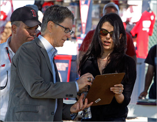 Red Sox owner John Henry is pictured with his wife Linda Pizzuti Henry on Saturday afternoon.