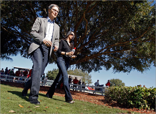John Henry and his wife Linda Pizzuti Henry walked the grounds at the Red Sox' minor league complex.