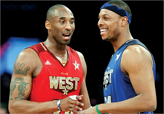 Paul Pierce, right, of the Celtics talked to Kobe Bryant of the Lakers during the game. Pierce had six points for the East while Bryant led the West and was named the game's most valuable player.