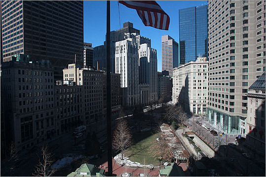 A look at the view of Post Office Square from the upper floors.